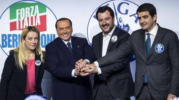 Meloni, Berlusconi, Salvini, Fitto (Ansa)