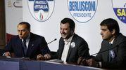 Berlusconi, Salvini e Fitto (Ansa)