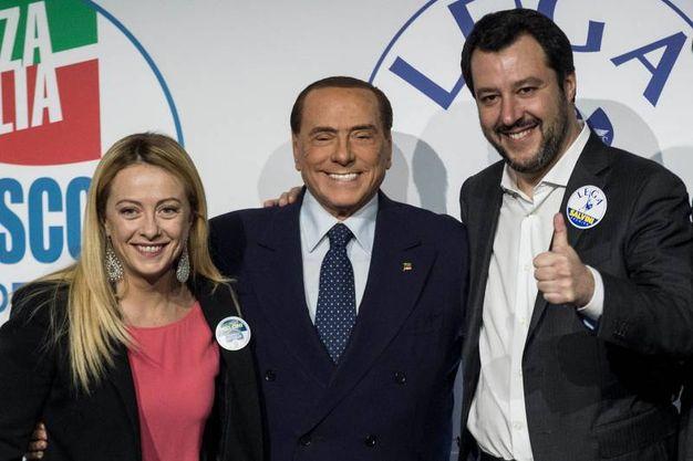 Meloni, Berlusconi e Salvini (Lapresse)