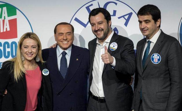 Giorgia Meloni, Silvio Berlusconi, Matteo Salvini, Raffaele Fitto (Lapresse)