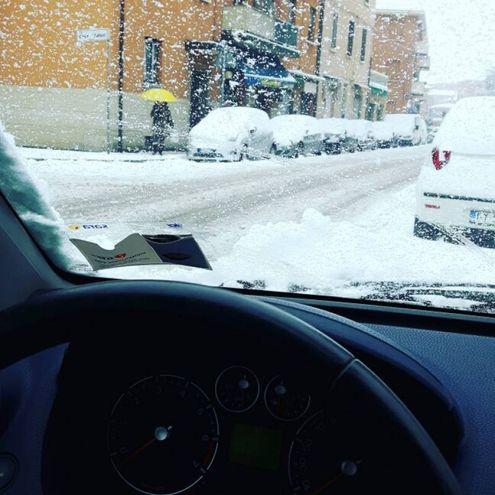 Auto coperte di neve, nella foto di Adriana Petrotta