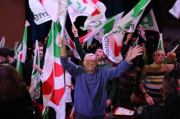 All'ObiHall la chiusura della campagna elettorale del Pd (foto Marco Mori/New Pressphoto)