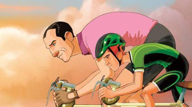 """Un'immagine del cartoon """"La bicicletta di Bartali"""""""