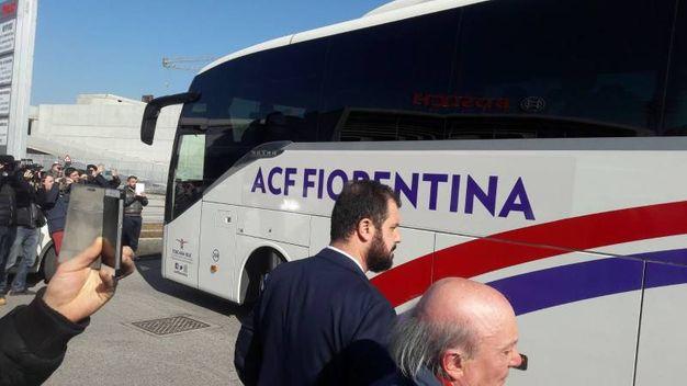 Il pullman della Fiorentina a Udine