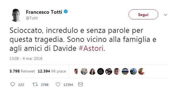 Il tweet di Francesco Totti