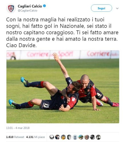 Il tweet del Cagliari