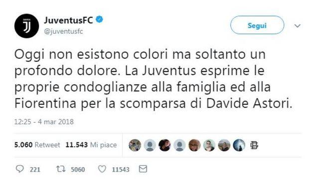 Il tweet della Juventus