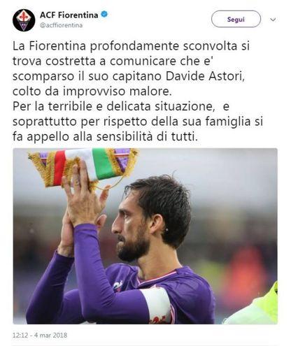 Il tweet della Fiorentina