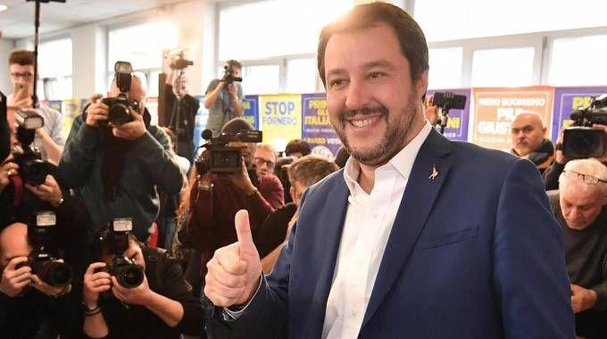 Elezioni 4 marzo, Matteo Salvini in conferenza stampa (Ansa)