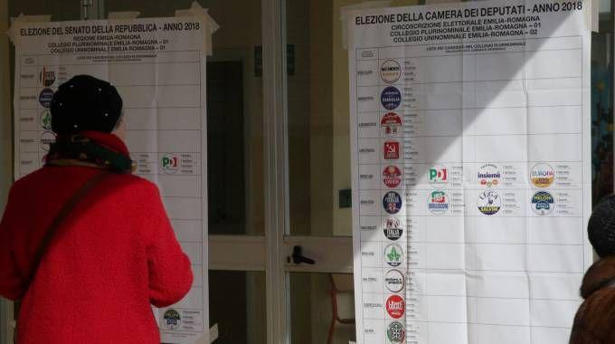Un seggio elettorale a Cesena (Foto Ravaglia)
