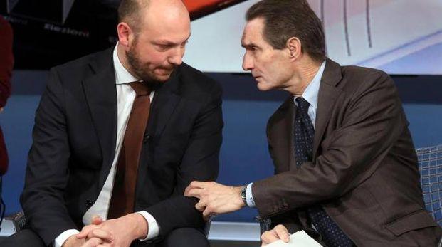 Dario Violi e Attilio Fontana durante il confronto tra i candidati in Rai