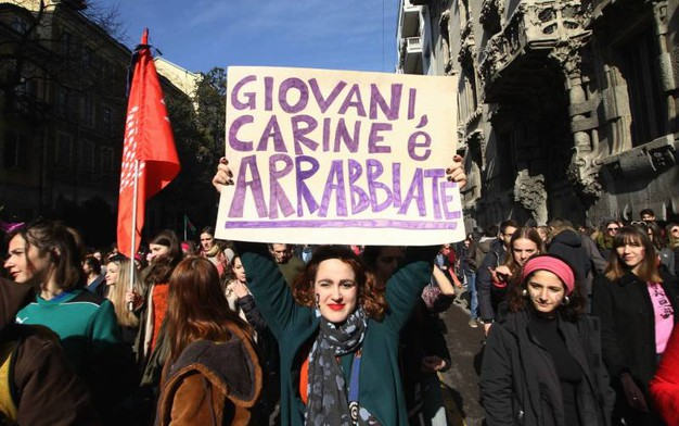 Manifestazione Lottomarzo, studenti in corteo (foto Newpress)
