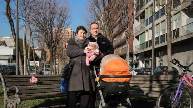 La piccola Sofia con mamma Anna e papà Giuseppe