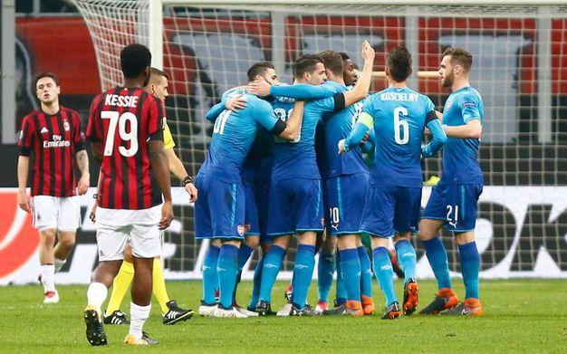 L'esultanza dell'Arsenal dopo il gol di Mkhitaryan (Lapresse)