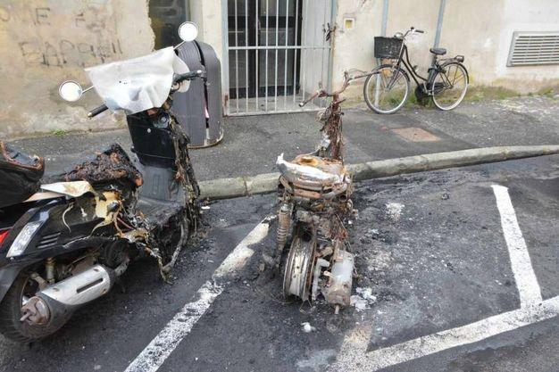Le carcasse dei motorini (Foto Lanari)