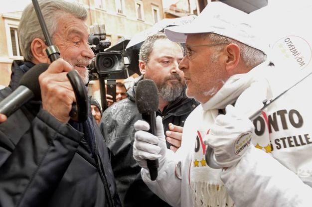Cesare Damiano con Enrico Lucci (Imagoeconomica)