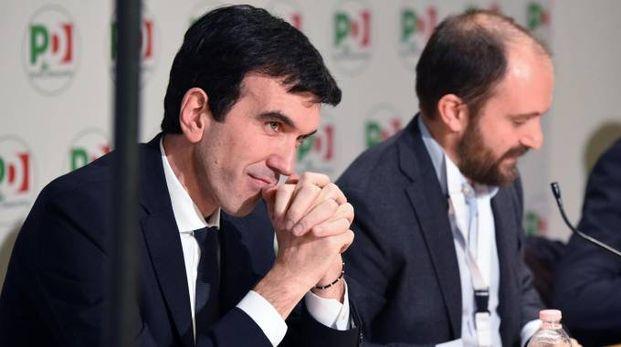 Maurizio Martina e Matteo Orfini alla direzione Pd (Ansa)