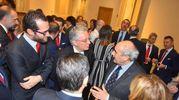 Il condirettore de il Resto del Carlino, Beppe Boni, con i vertici di Unicredit (foto Artioli)