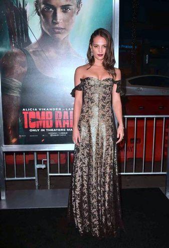 Alicia Vikander alla premiere americana del film Tomb Raider (Lapresse)