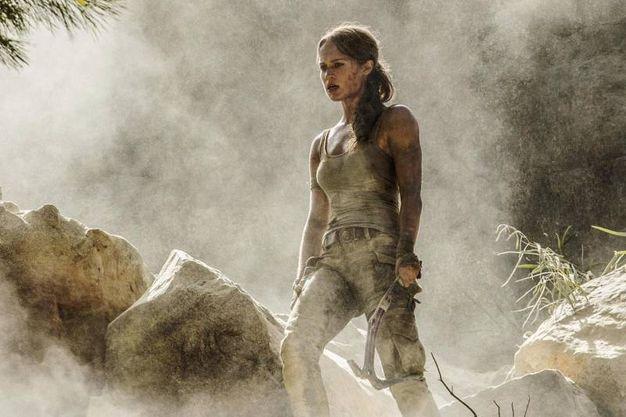 Alicia Vikander in una scena del film Tomb Raider (Lapresse)