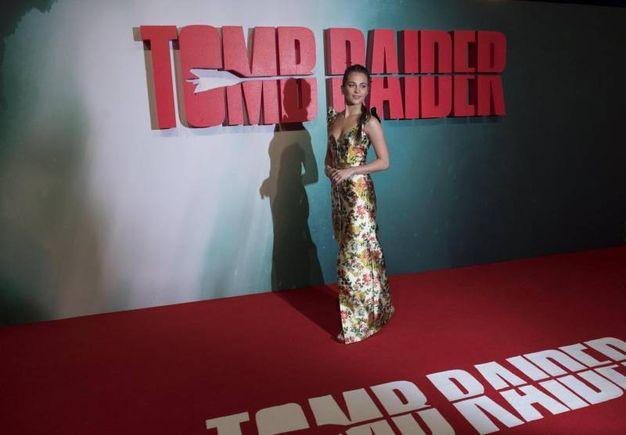 Alicia Vikander alla prima europea del film Tomb Raider (Lapresse)