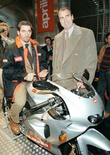 Max Biaggi e Ivano Beggio (Ansa)