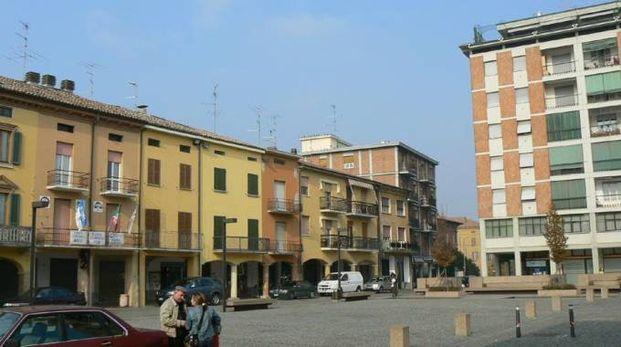 La piazza centrale di Poviglio