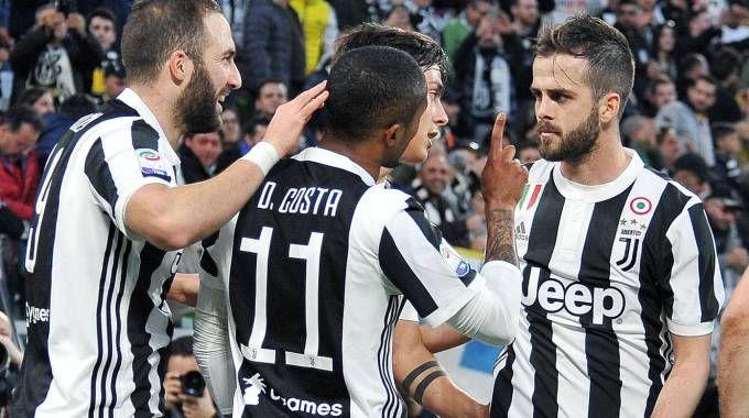 Juventus-Atalanta, l'esultanza dei bianconeri (Ansa)