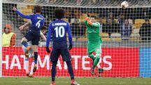 Dinamo Kiev-Lazio, il gol dello 0-1 (Ansa)