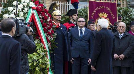 Mattarella alla cerimonia per il 40esimo anniversario del rapimento di Aldo Moro (Ansa)