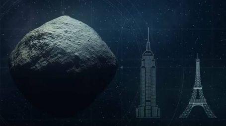 L'asteroide Bennu paragonato all'Empire State Building e alla Torre Eiffel (da youtube)
