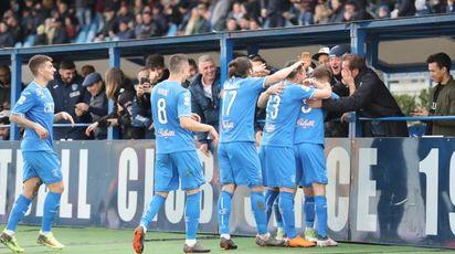 L'esultanza azzurra per il gol di Donnarumma (Germogli)
