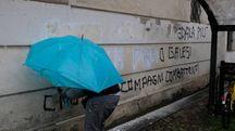 Cancellate le scritte contro Marco Biagi all'università di Modena (FotoFiocchi)