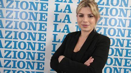 Emma nella redazione di Firenze della Nazione (foto Cabras/New Pressphoto)