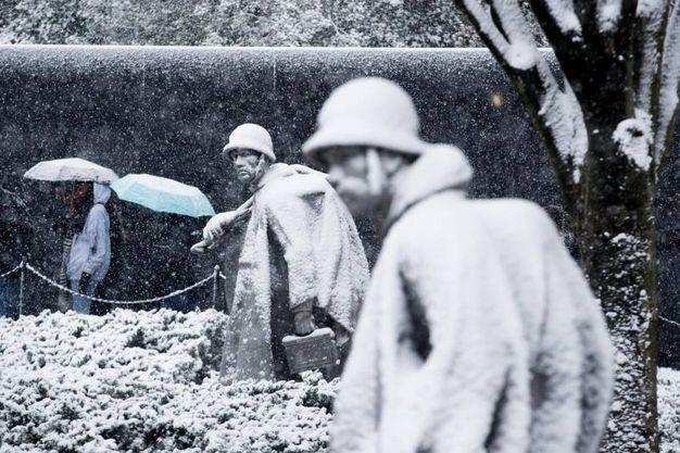 Le statue dei veterani sotto la neve di Washington (Ansa)