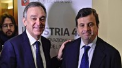 Il governatore della Regione Enrico Rossi e il ministro per lo sviluppo economico Carlo  Calenda