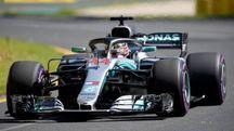 Hamilton sulla sua Mercedes a Melbourne (Ansa)