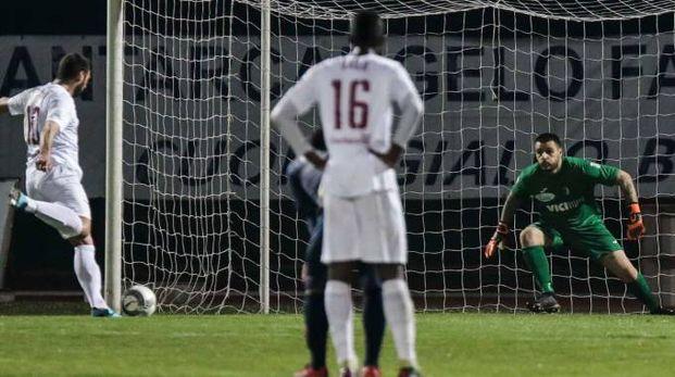 Rigore per fallo subito da Fioretti: Germinale fa gol (Foto Petrangeli)
