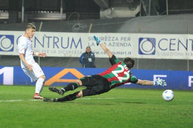 Il gol annullato per fuorigioco a Malcore (foto Fiocchi)