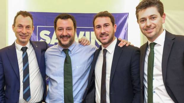 Riccardo Pase, Matteo Salvini,  Giacomo Ghilardi e Jari Colla