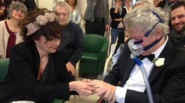 Giancarlo Guidoboni e Maria Teresa Fusco il giorno del matrimonio alla Casa Barberini