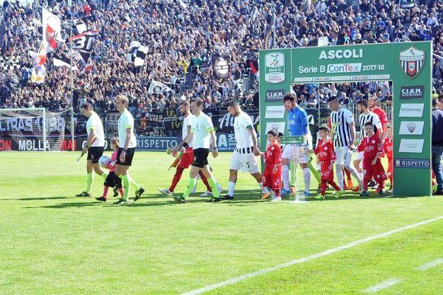 L'entrata delle squadre allo stadio Del Duca (foto LaPresse)