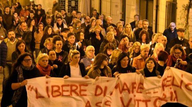 Un momento della manifestazione per Roberta Felici