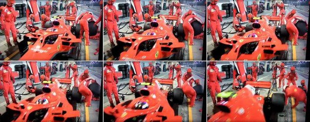 Meccanico Ferrari ferito ai box, la fotosequenza dell'incidente (Ansa)