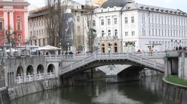 Il fiume Ljubljanica, nel quale Davide Maran sarebbe caduto