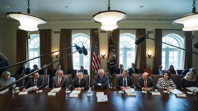 Riunione di gabinetto alla Casa Bianca (Ansa)