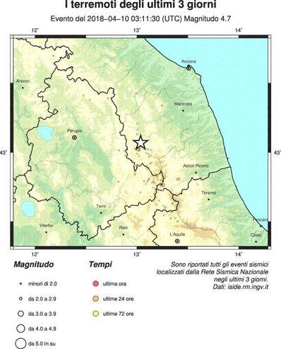 La mappa dell'Ingv sulle scosse degli ultimi 3 giorni
