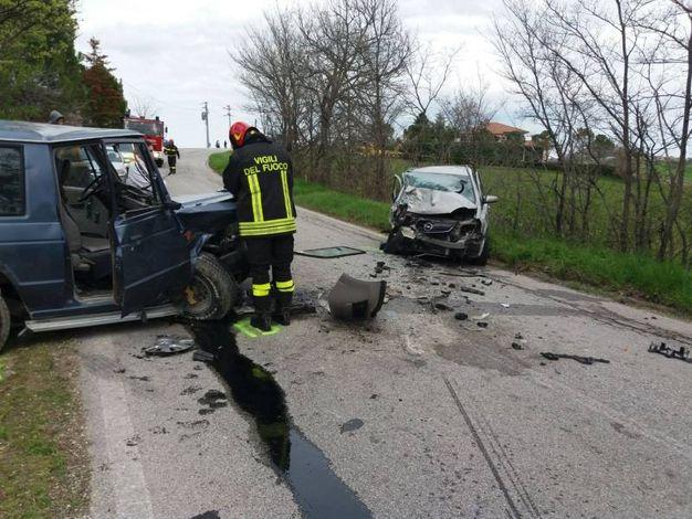 L'incidente a Falerone (foto Zeppilli)