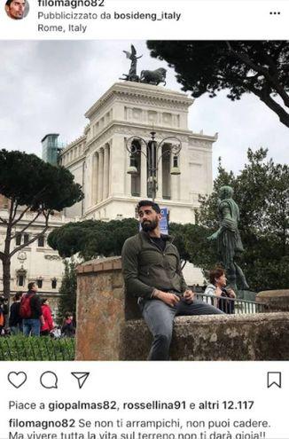 Filippo Magnini in una foto del suo profilo Instagram a Roma