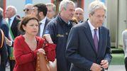 L'arrivo del premier Gentiloni e del commissario per il terremoto De Micheli (foto Calavita)